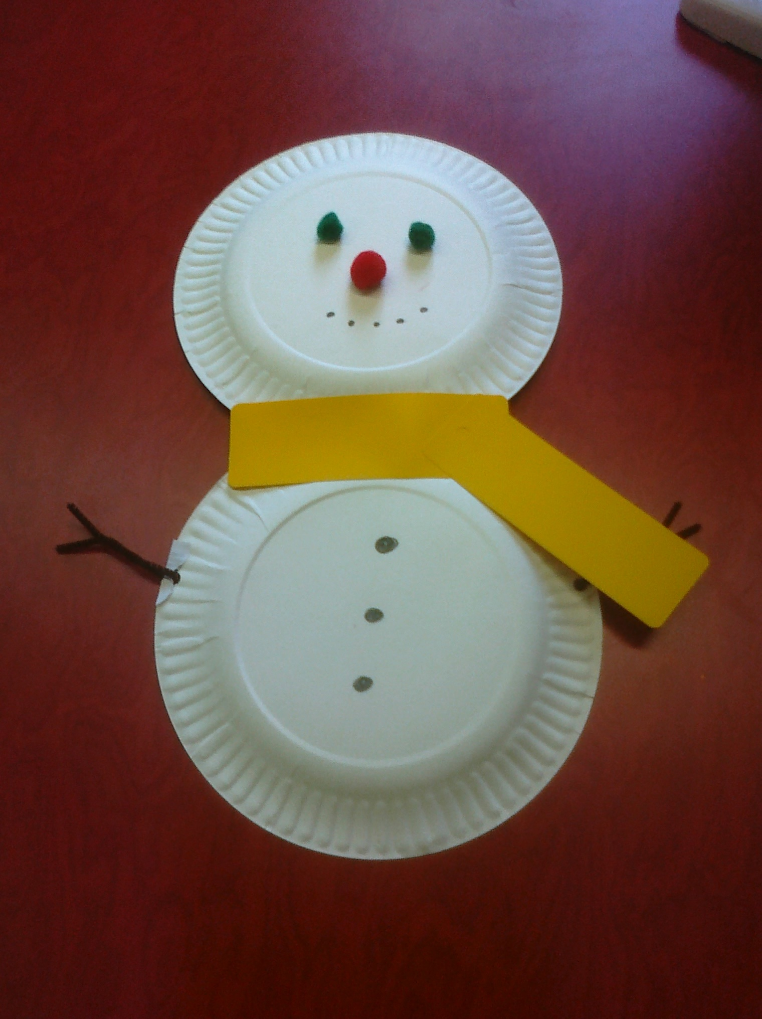 In the meadow we can build a paper plate snowman ...