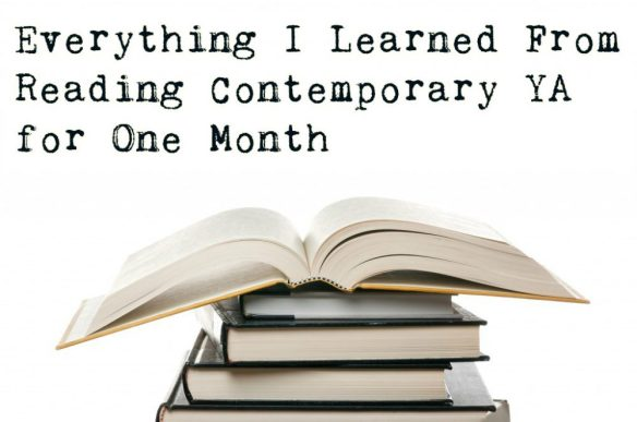 Everything I learned from Reading Contemporary YA for One Month with a stack of books
