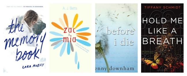 cover art for The Memory Book, Zac and Mia, Before I Die, Hold Me Like a Breath